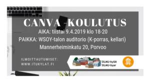 Canva -ohjelman alkeet @ WSOY talon auditorio, Porvoo